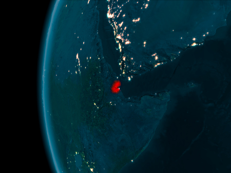 Djibouti from orbit of planet Earth at night with highly detailed surface textures. 3D illustration.