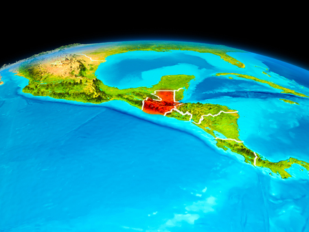 Satellite view of Guatemala highlighted in red on planet Earth with borderlines. 3D illustration. Фото со стока