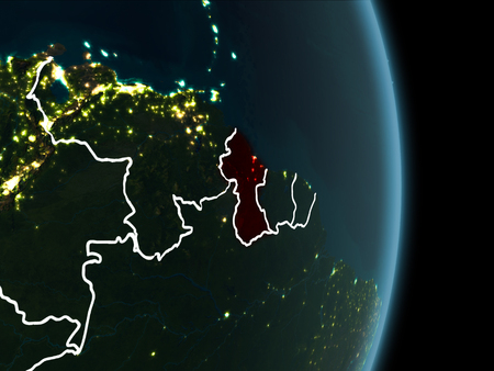Map of Guyana in red as seen from space on planet Earth at night with white borderlines and city lights. 3D illustration.