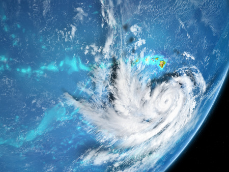 Hurricane from spce near Hawaii in August 2018. 3D illustration.