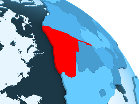 Namibia highlighted on blue 3D model of political globe with transparent oceans. 3D illustration.