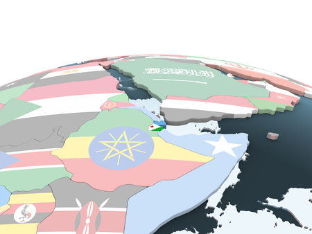 Djibouti on bright political globe with embedded flag. 3D illustration.