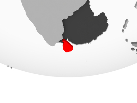 Sri Lanka in red on grey political globe with transparent oceans. 3D illustration. Stock Photo