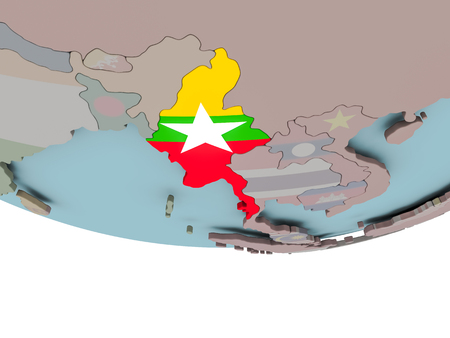 3D illustration of Myanmar with embedded flag on political globe. 3D render.