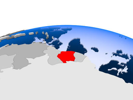Suriname highlighted in red on political globe with transparent oceans. 3D illustration.