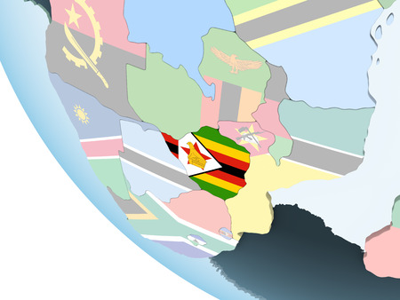 Zimbabwe on bright political globe with embedded flag. 3D illustration.