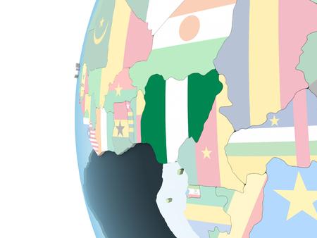 Nigeria on bright political globe with embedded flag. 3D illustration. Archivio Fotografico