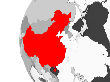 China highlighted on grey 3D model of political globe with transparent oceans. 3D illustration.