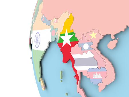 Myanmar on political globe with flag. 3D illustration.