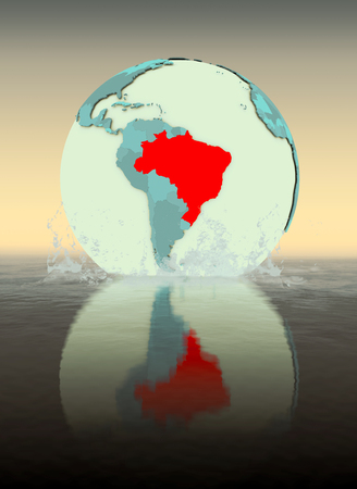 Brazil on globe splashed into the water. 3D illustration.