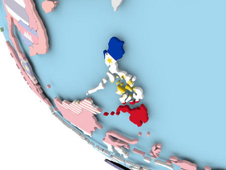 Philippines on bright political globe with embedded flag. 3D illustration. Stock Photo