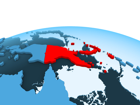 Map of Papua New Guinea in red on blue political globe with transparent oceans. 3D illustration. Stock Photo