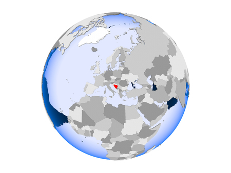 Bosnia and Herzegovina highlighted in red on political globe with transparent oceans. 3D illustration isolated on white background.