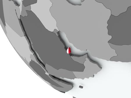 Qatar on political globe with embedded flags. 3D illustration.