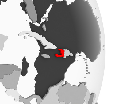Haiti highlighted in red on grey political globe with transparent oceans. 3D illustration. Stock Photo