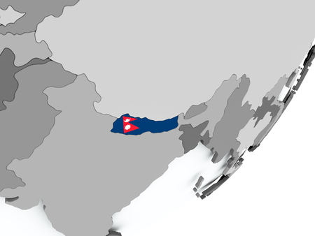 Nepal on political globe with flag. 3D illustration. Stock Photo