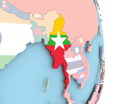 Myanmar with embedded flag on globe. 3D illustration.