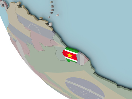 Map of Suriname on political globe with embedded flags. 3D illustration.