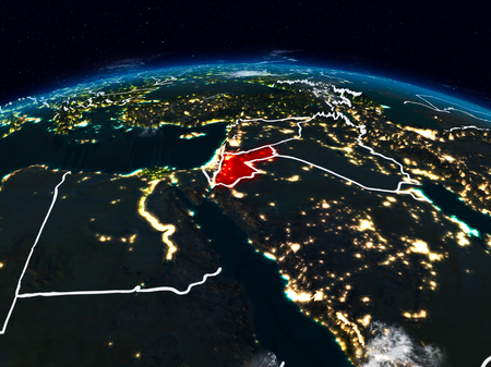 Jordan from space at night on Earth with visible country borders. 3D illustration. Stockfoto
