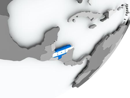 Honduras on political globe with flag. 3D illustration.