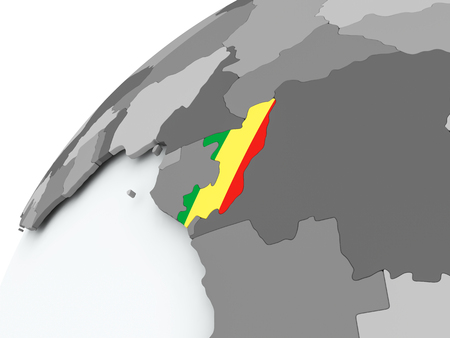 Congo with embedded flag on globe. 3D illustration. Standard-Bild - 108183206