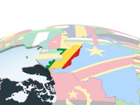 Congo on bright political globe with embedded flag. 3D illustration. Standard-Bild - 108183214