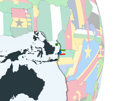 Equatorial Guinea on bright political globe with embedded flag. 3D illustration.
