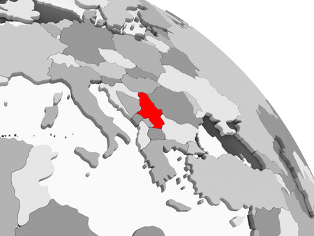 3D render of Serbia in red on grey political globe with transparent oceans. 3D illustration.