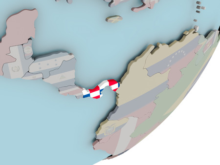 3D render of Panama on political globe with embedded flag. 3D illustration. 写真素材