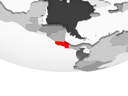 Costa Rica in red on grey political globe with transparent oceans. 3D illustration.