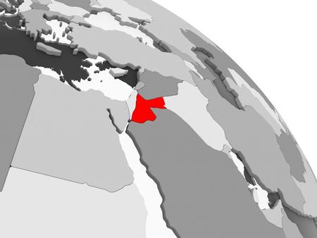 3D render of Jordan in red on grey political globe with transparent oceans. 3D illustration.