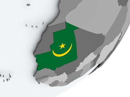 Mauritania on political globe with flag. 3D illustration. Фото со стока