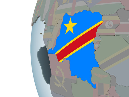 Democratic Republic of Congo on political globe with embedded flag. 3D illustration.