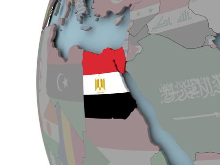 Egypt with embedded flag on political globe. 3D illustration. Stock Photo
