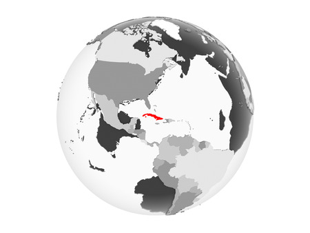 Cuba highlighted in red on grey political globe with transparent oceans. 3D illustration isolated on white background. 写真素材
