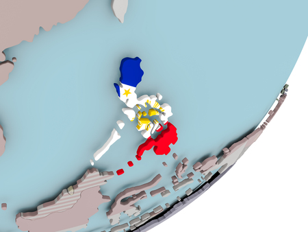 3D render of Philippines on political globe with embedded flag. 3D illustration.