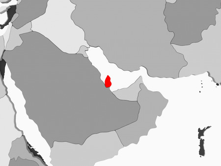 Qatar in red on grey political map with transparent oceans. 3D illustration.