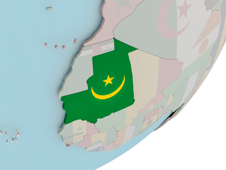3D render of Mauritania on political globe with embedded flag. 3D illustration.