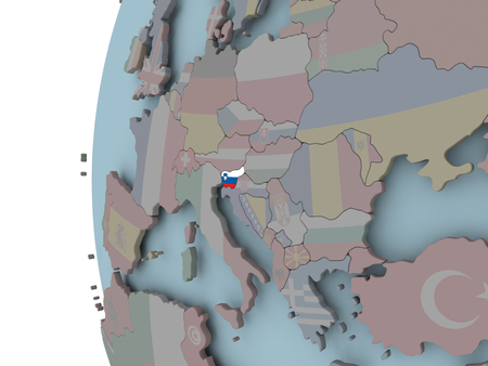 Slovenia with embedded flag on political globe. 3D illustration.