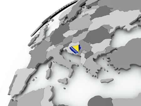 Bosnia with embedded flag on globe. 3D illustration.