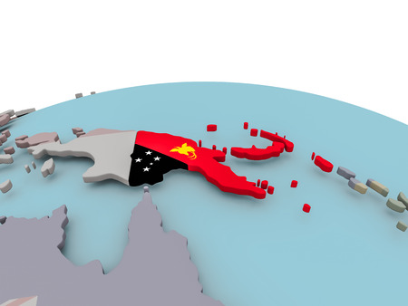 Papua New Guinea with national flag on political globe. 3D illustration.