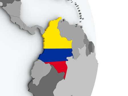 Colombia on political globe with embedded flag. 3D illustration. Reklamní fotografie - 108246677