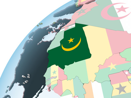 Mauritania on bright political globe with embedded flag. 3D illustration.