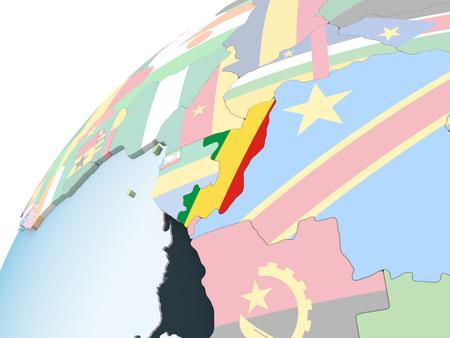 Congo on bright political globe with embedded flag. 3D illustration. Standard-Bild - 108246836