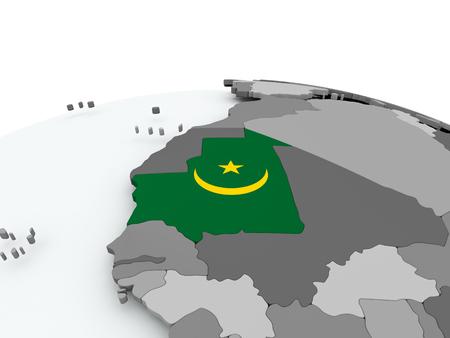Mauritania on grey political globe with embedded flag. 3D illustration. Фото со стока