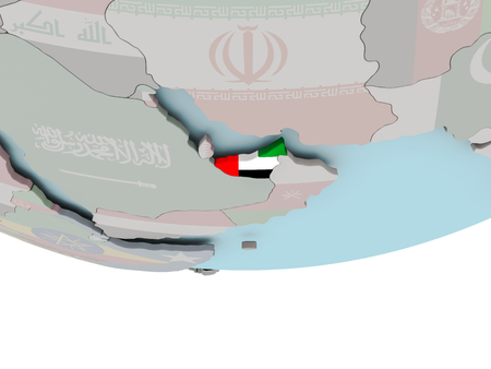 3D illustration of United Arab Emirates with embedded flag on political globe. 3D render.