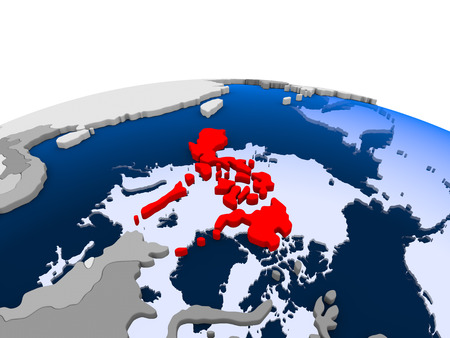 Philippines highlighted in red on political globe with transparent oceans. 3D illustration.