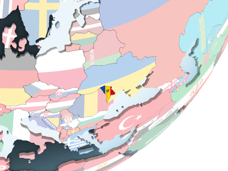 Moldova on bright political globe with embedded flag. 3D illustration.