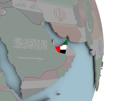 United Arab Emirates with embedded national flag on political globe. 3D illustration.