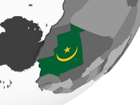 Mauritania on gray political globe with embedded flag. 3D illustration.